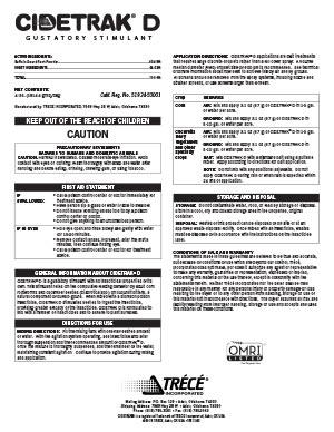 CIDETRAK D Label for Use in California